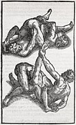 European Artwork Metal Prints - Wrestling Moves, 16th Century Artwork Metal Print by Middle Temple Library