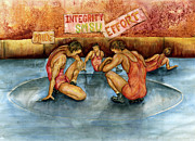 Sports Paintings - Wrestling The Greatest Sport by Ragon Steele