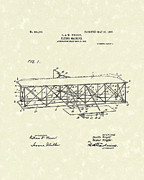 Patent Artwork Drawings Metal Prints - Wright  Brothers Flying Machine 1906 Patent Art Metal Print by Prior Art Design