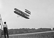 Wrights Airplane In Army Trial Flights Print by Everett