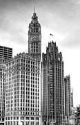 Chicago Building Framed Prints - Wrigley and Tribune B Framed Print by Scott Norris