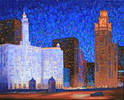 Chicago Landmark Paintings - Wrigley Building and Tribune Tower by J Loren Reedy