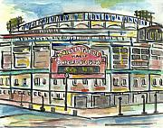 Chicago Painting Framed Prints - Wrigley Field Framed Print by Matt Gaudian