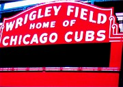 Chicago Black White Digital Art Posters - Wrigley Field Sign Poster by Marsha Heiken