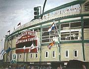 Chicago Cubs Stadium Paintings - Wrigley Field by Travis Day