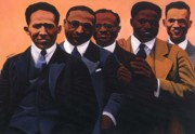 African American Men Paintings - Writers on the Roof by Joyce Owens