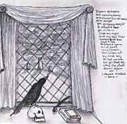Raven Drawings Originals - Writers Veiw by Janice T Keller-Kimball