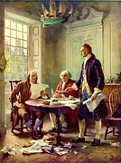Liberty Painting Prints - Writing Declaration of Independence Print by Pg Reproductions