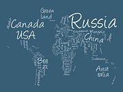 World Map Print Prints - Writing Text Map of the World Map Print by Michael Tompsett