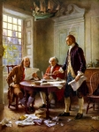 President  Painting Framed Prints - Writing The Declaration of Independence Framed Print by War Is Hell Store