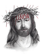 Jesus Drawings Posters - Written In Red Poster by Mamie Greenfield