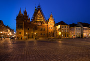 Town Square Prints - Wroclaw Town Hall At Night Print by Sebastian Musial