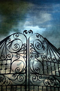 Thunderstorm Framed Prints - Wrought Iron Gates Stormy Sky Framed Print by Jill Battaglia