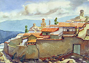 Bolivian Paintings - WS1955BO001 Landscape of Potosi 13.75X9.75 by Alfredo Da Silva