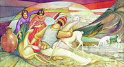 Bolivian Paintings - WS1955BO003 Vicunas of Bolivia Potosi 17.5X8.75 by Alfredo Da Silva