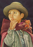 Bolivian Paintings - WS1979BO010Potosi Julia 14x20 by Alfredo Da Silva