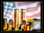 Twin Towers World Trade Center Digital Art Metal Prints - WTC - In Our Heart Metal Print by PedrazArt Digital Designs