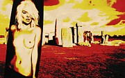 Stonehenge Digital Art Prints - WTF ---you woke me up for this--- Kate Moss Series 19 Print by Simon Johansson - KMAG