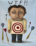 Bulls Eye Framed Prints - WTF 2 With Words Framed Print by Leah Saulnier The Painting Maniac