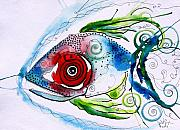 Fish Painting Posters - WTFish 001 Poster by J Vincent Scarpace