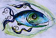 Fish Painting Posters - WTFish 009 Poster by J Vincent Scarpace