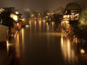 Illuminated Framed Prints - Wuzhen - Venice of the Far East Framed Print by Andrew Soundarajan