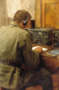 Receiver Posters - WW2 Radio Operator Poster by Jill Battaglia