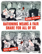 United States Government Prints - WW2 Rationing Cartoon Print by War Is Hell Store