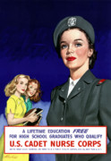 Political Digital Art Prints - WW2 US Cadet Nurse Corps Print by War Is Hell Store