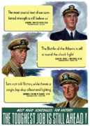 Us Navy Framed Prints - WW2 US Navy Admirals Framed Print by War Is Hell Store