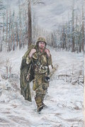 Uniform Pastels Prints - WWII 82nd Airborne Paratrooper Print by Phyllis Barrett