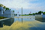 Greatest Generation Digital Art Prints - WWII Memorial at Dawn Print by Jim Moore