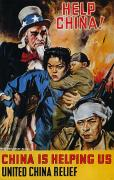 James Montgomery Framed Prints - Wwii Poster: Help China Framed Print by Granger