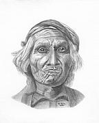Pencil Native American Drawings - Wyemah - Taos by Randy Reed