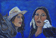 Original Cowgirl Posters - Wynonna and Onawa The Feminine Power and Wisdom Unite Poster by The Art With A Heart By Charlotte Phillips