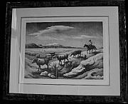 Original Lithographs Drawings - Wyoming Autumn F.91 by Thomas Hart Benton