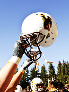 Sports Art Print Prints - Wyoming Helmet Print by Univesity of Wyoming