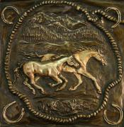 Western Reliefs Prints - Wyoming Horses Print by Dawn Senior-Trask