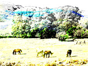 Expressionist Equine Posters - Wyoming Landscape with Horses 2 Poster by Lenore Senior and Dawn Senior-Trask