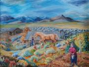 Wyoming Paintings - Wyoming Ranch Scene by Dawn Senior-Trask