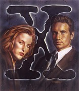 Celebrity Portrait Paintings - X-Files by Tim  Scoggins