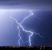 Striking Photography Prints - X Lightning Bolt In The Sky Print by James Bo Insogna