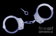 Criminal Framed Prints - X-ray Of Handcuffs & Keys Framed Print by Ted Kinsman