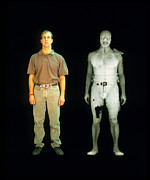 Plexiglass Posters - X-ray View Of Man During Bodysearch Surveillance Poster by American Science & Engineering