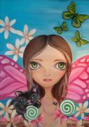 Surrealism Paintings - Xenia Fairy by Jaz Higgins