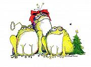 Whimsical Frogs Posters - Xmas Bows Poster by Pat Saunders-White            