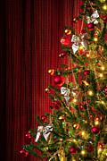 Christmas Tree Photos - Xmas tree on red by Carlos Caetano