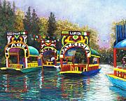 Boats Pastels Prints - Xochimilco Print by Candy Mayer