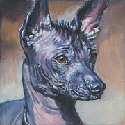 Hairless Paintings - Xoloitzcuintli Xolo Mexican Hairless by Lee Ann Shepard