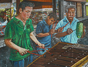 People Pastels Framed Prints - Xylophone Players Framed Print by Jim Barber Hove
